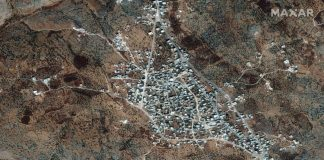 A satellite view of the reported residence of ISIS leader, Abu Bakr al-Baghdadi,