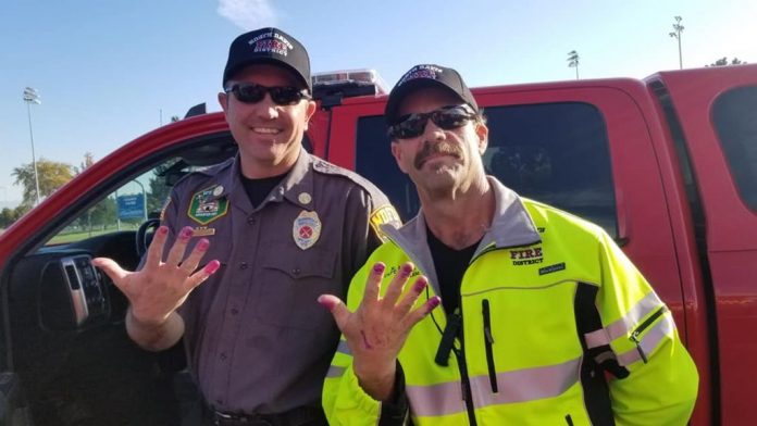 Firefighters with nail polish