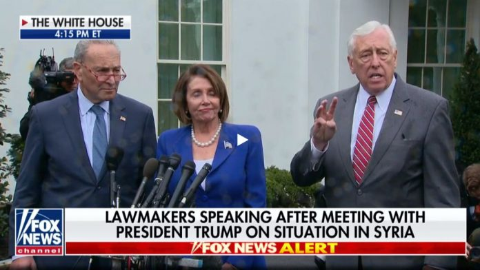 Pelosi, Schumer and Hoyer speaking after Syria meeting walk out.