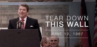 "Mr. Gorbachev, ""Tear down this wall""!"