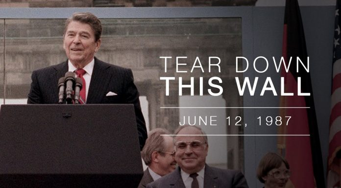 "Mr. Gorbachev, ""Tear down this wall""!"