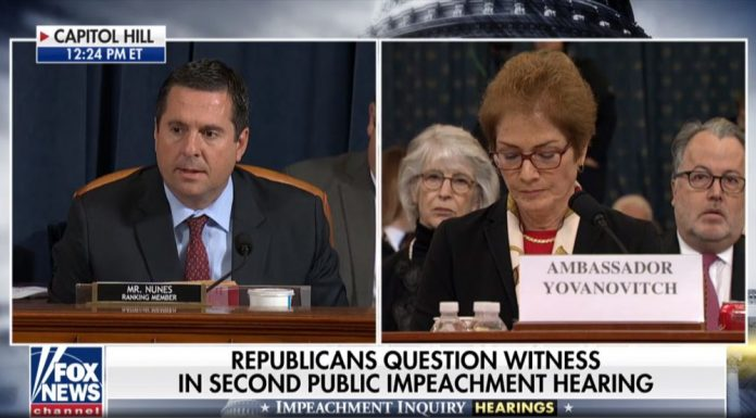 Nunes and Yovanovitch during Trump Impeachment Hearings