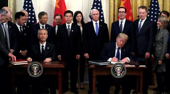 Signing of phase one of China trade deal