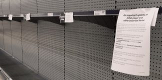 A view of Empty toilet paper shelves at a supermarket in Brisbane, Australia