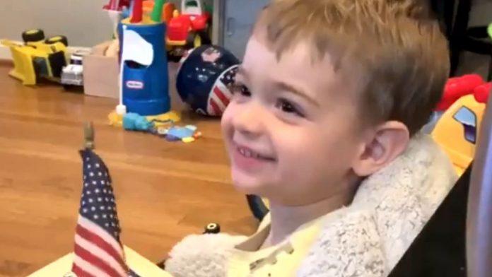 Flynn's Grandson says Pledge of Alliance