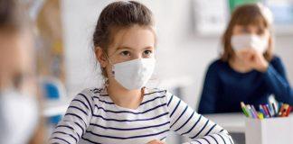 Kids wearing masks in school