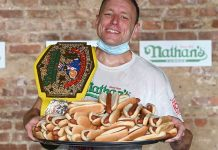 Competitive eater Joey Chestnut at Annual Nathan's Famous Fourth of July International Hot Dog-Eating Contest