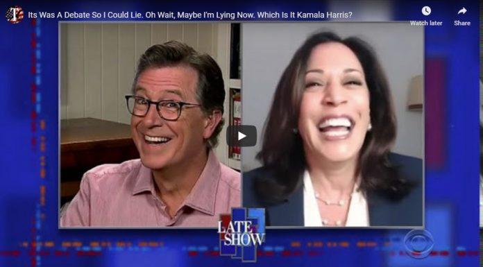 Stephen Colbert interviews Kamala Harris about her debate against Biden.