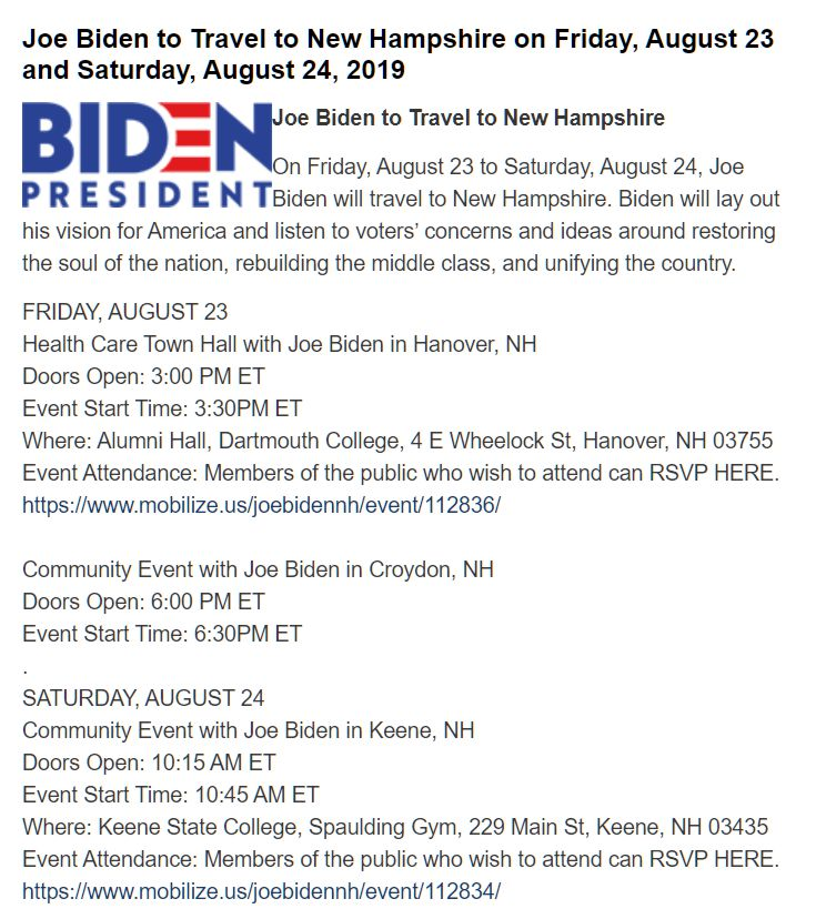 Joe Biden's 2019 New Hampshire Schedule.