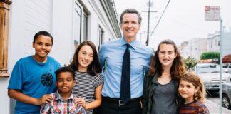 Gavin Newsom with kids