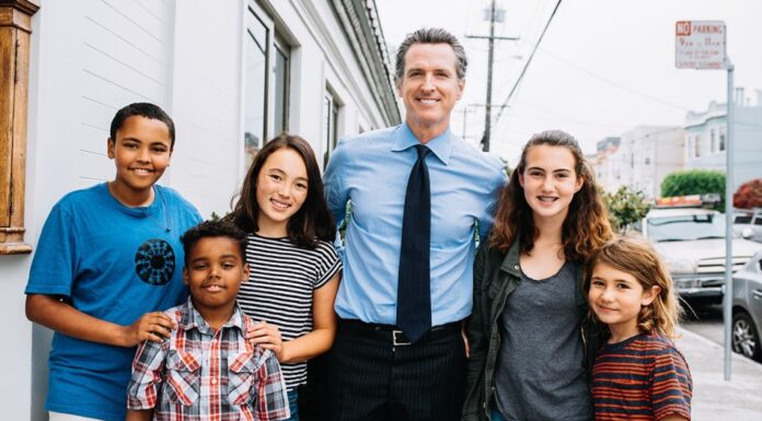 Gavin Newsom with kids