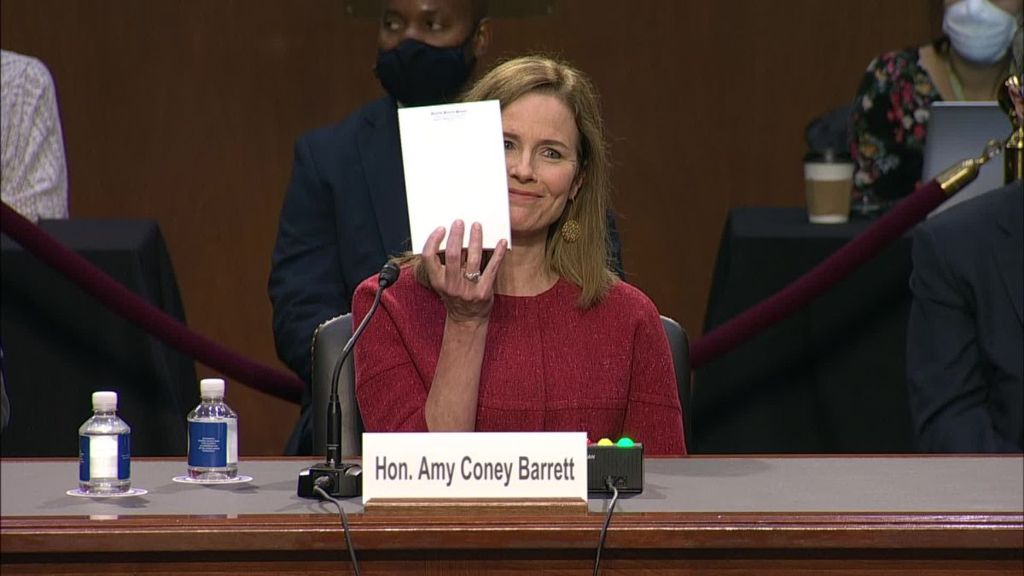 "Supreme Court nominee Amy Coney Barrett speaks during a confirmation showing the ""notes"" she is referring to."