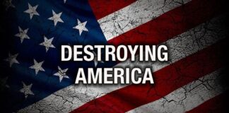 Destroying America - Cracked Flag