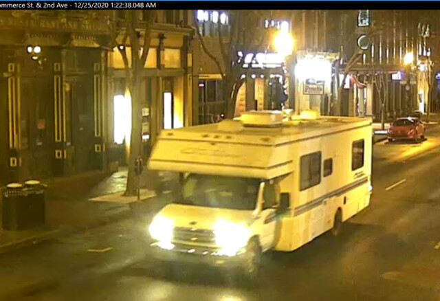 Image shows the RV which reportedly exploded at 6:30 a.m. CT in Nashville, Tenn., on 2nd Ave N on Dec. 25. (Metro Nashville Police Department)