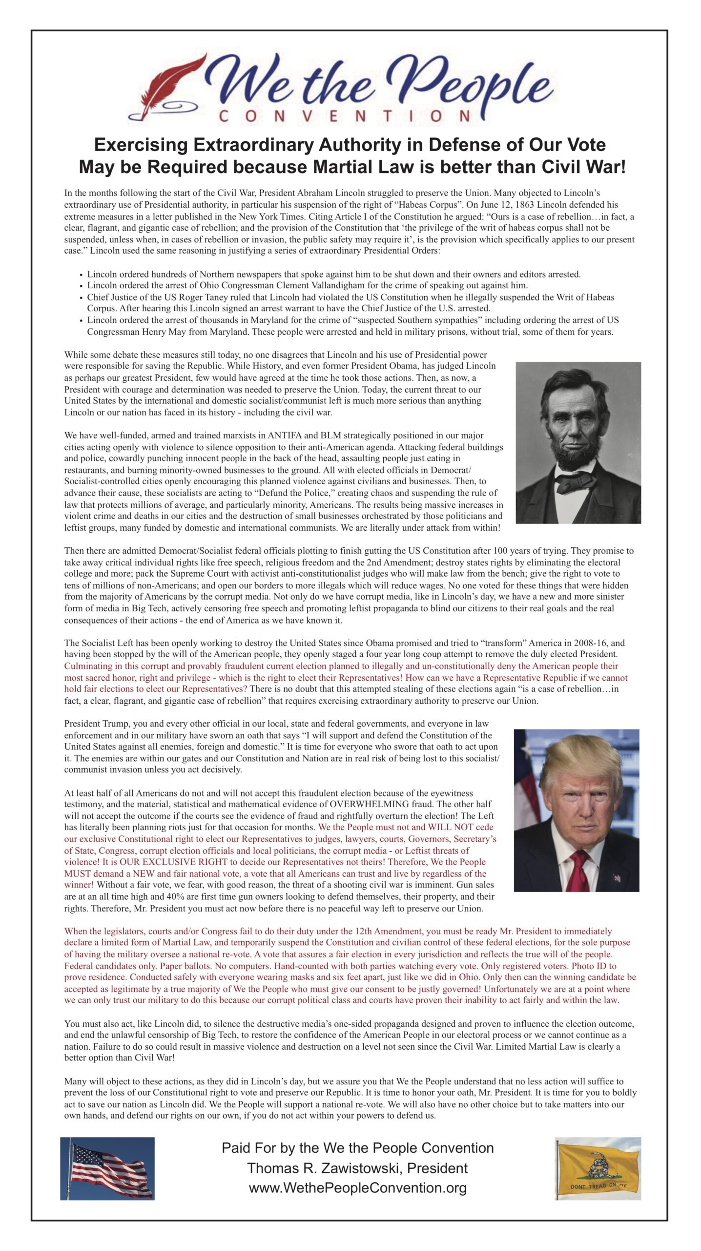We The People Convention Washington Times Ad