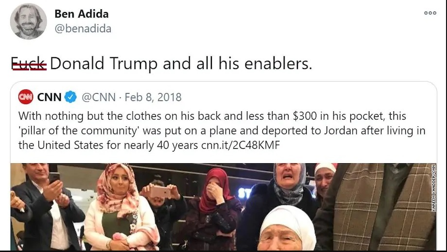 Ben Adida posted anti-Trump profanity on social media