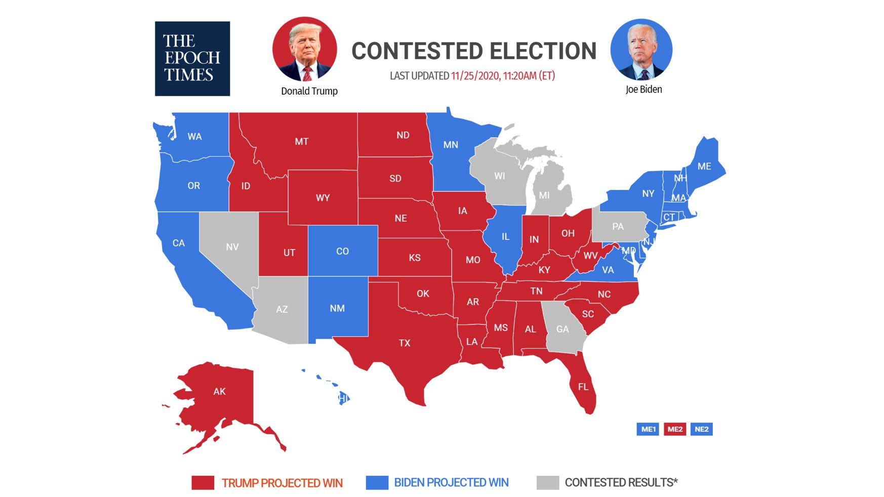 Election Map of Contested Elections by The Epoch Times
