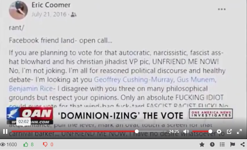 Eric Coomer Rant about Trump.
