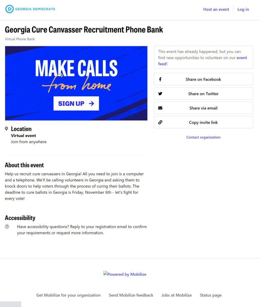 Georgia Democrats Cure Canvasser Recruitment Phone Bank Website