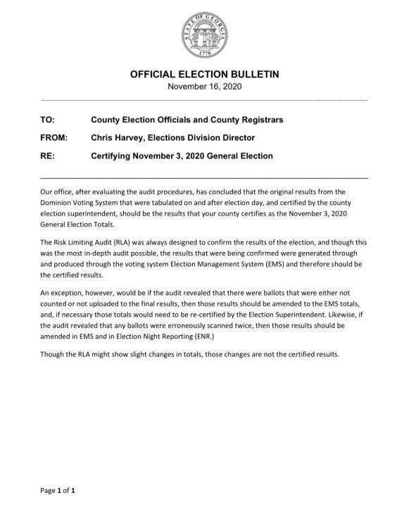 State Election Director Chris Harvey's Certification Letter