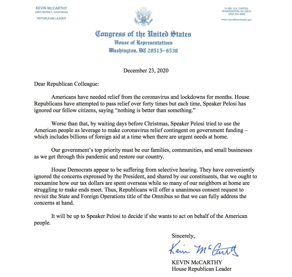 Rep. Kevin McCarthy's letter to Republicans on Covid-Relief Bill.
