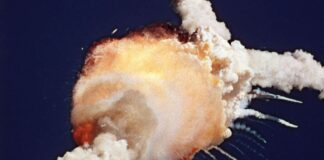 The Space Shuttle Challenger exploding