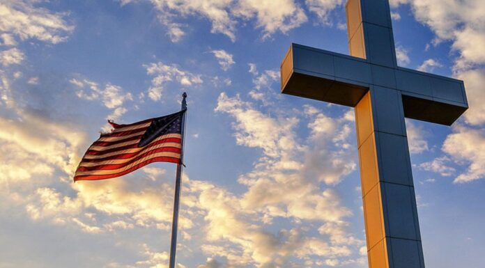 American Flag and Cross