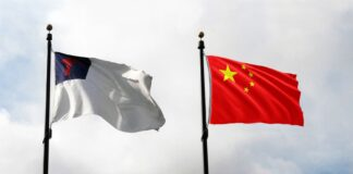 Christian Flag and Chinese Flag
