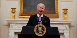 President Joe Biden arrives to speak about the coronavirus
