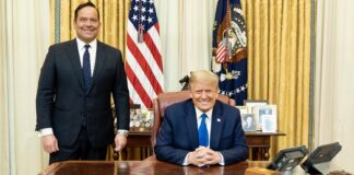 President Trump and Steve Cortes in the Oval Office