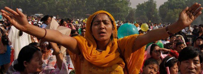 Nepali Christians participate in a mass prayer