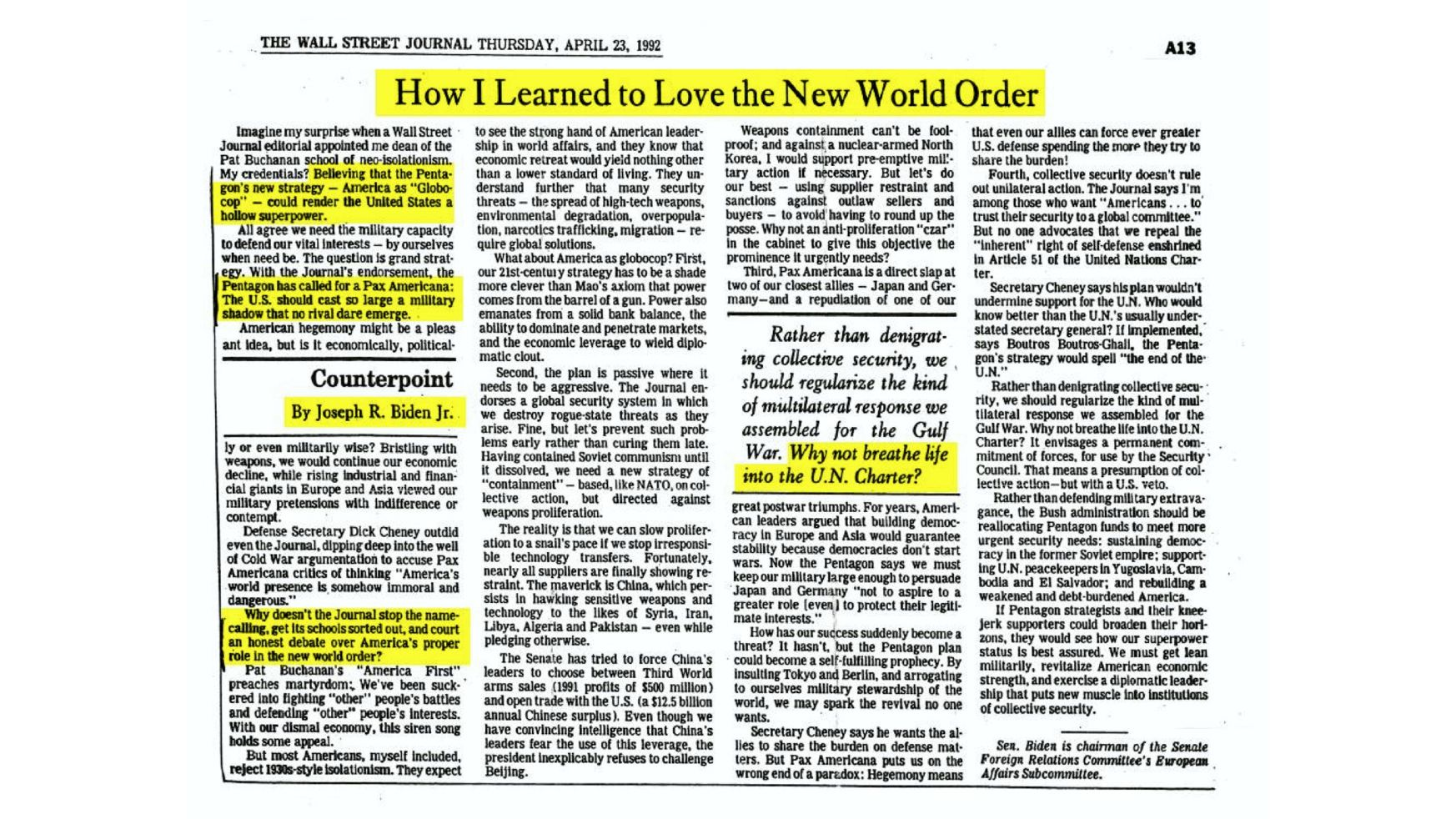 How Biden Learned to Love the New world Order