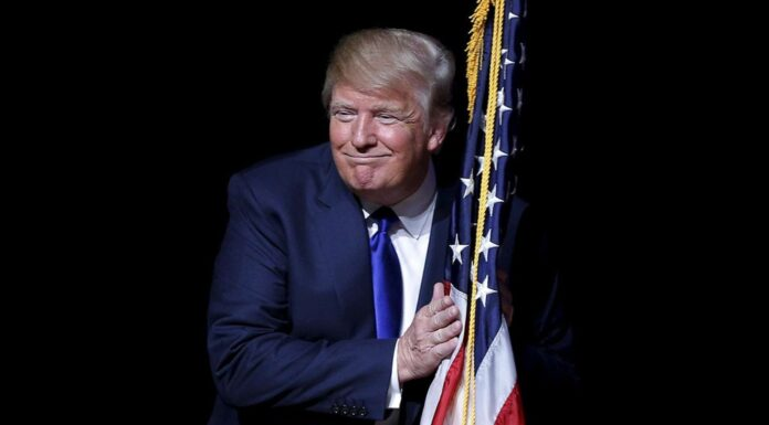President Trump Hugging American Flag