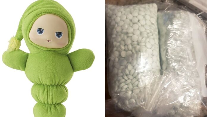 Glow worm from thrift store in El Mirage, AZ with bag of over 5,000 pills believed to be fentanyl.