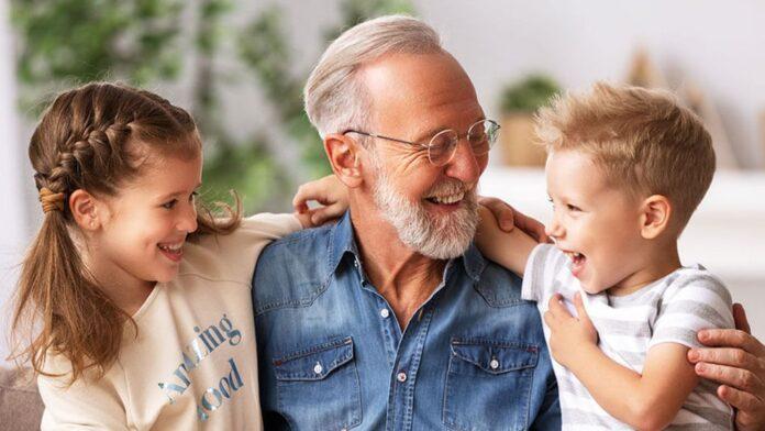 Grandfather and grand children