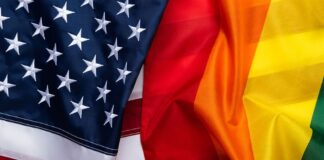 U.S. and Gay Pride Flags