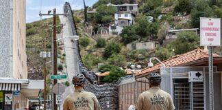 Border Patrol agents patrol the border in Nogales, Arizona