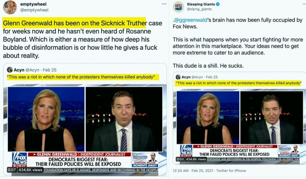 Glenn Greenwald has been on the Sicknick Truther