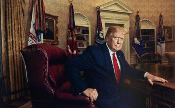 """""""President Donald J. Trump for Time magazine in 2019"""" inkjet print 2019, printed 2020."""