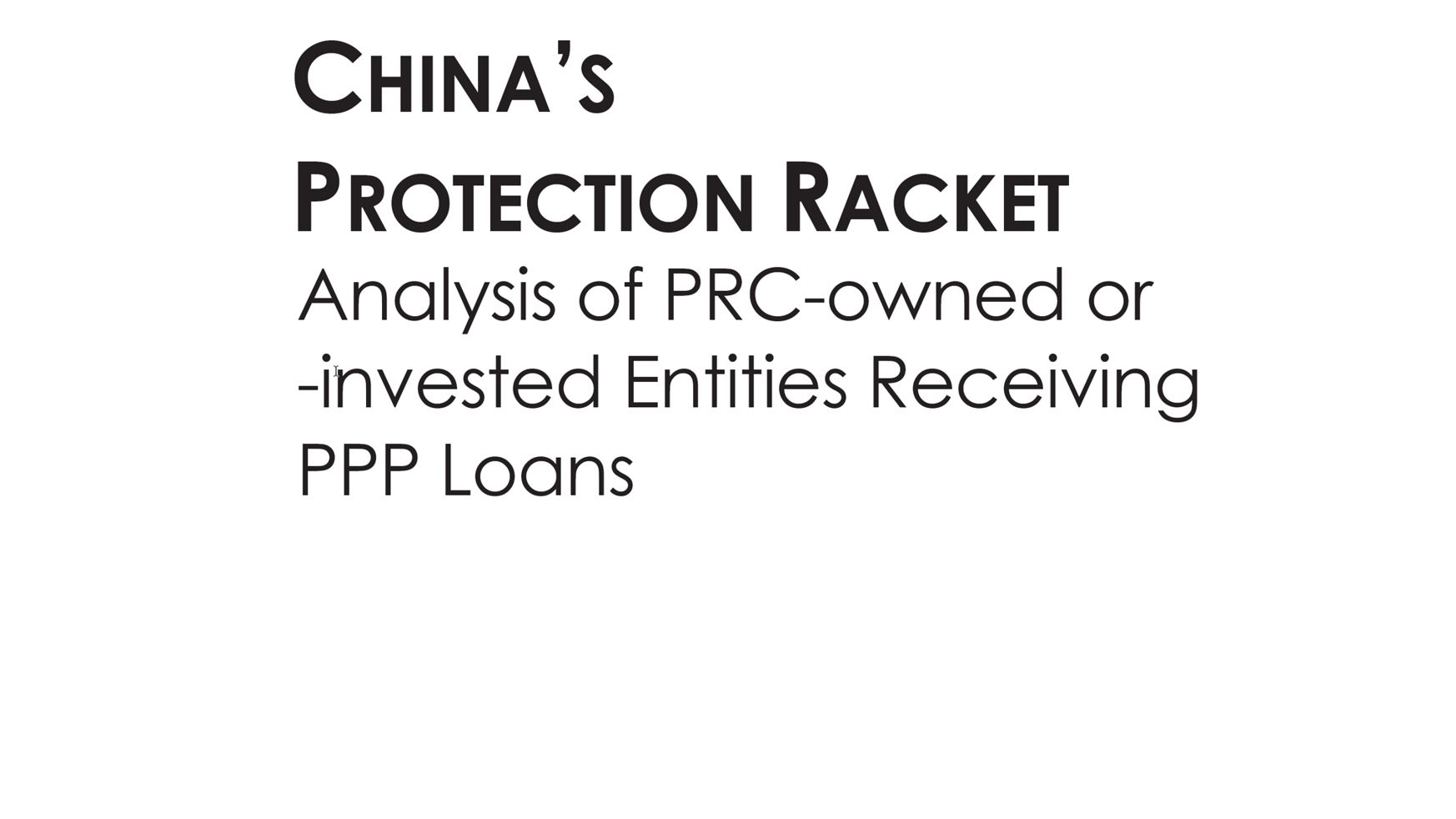 China's Protection Racket Report