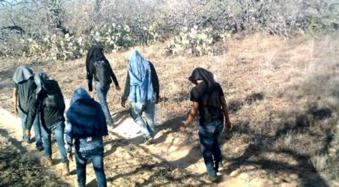 Illegal aliens walking through private ranch land in Jim Hogg County, Texas,