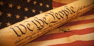 U.S. Constitution and American Flag