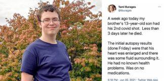Jacob Clynick Pfizer Covid vaccine death