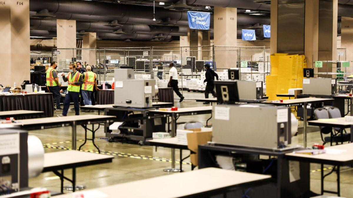 Ballot counting room Pennsylvania Convention Center