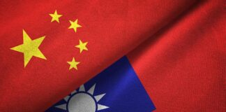National Flag of the People's Republic of China and Flag of Taiwan