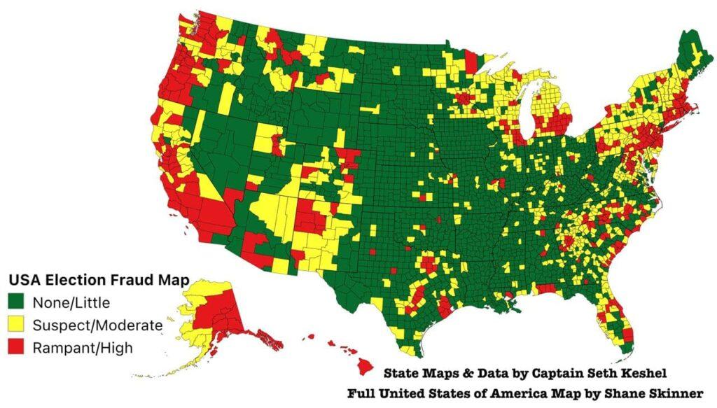 U.S. Election Fraud Map by Captain Seth Keshel and Shane Skinner
