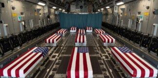 Flag Draped Transfer Cases from Kabul Airport Bombing 2021