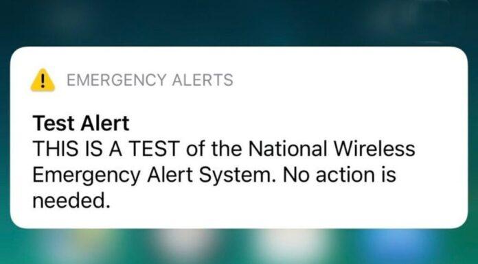 Wireless Emergency Alert System Test