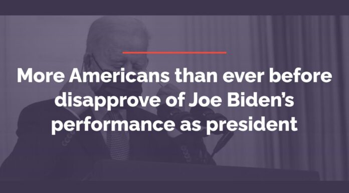 More Americans than ever before disapprove of Joe Biden's performance as presiden