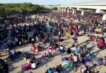 Illegal immigrants under bridge